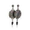 Gem Kingdom - Black Mother of Pearl Earrings E19a02b
