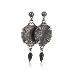 Gem Kingdom - Black Mother of Pearl Earrings E19a02b