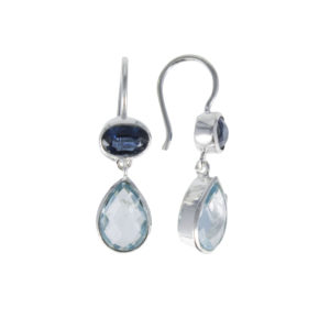 Coby van den Bor - Earrings Silver Cyanite Blue Topaz