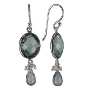 Coby van den Bor - Earrings Silver Green Amethist