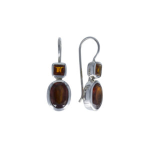 Coby van den Bor - Earrings Silver Hessonite Citrine