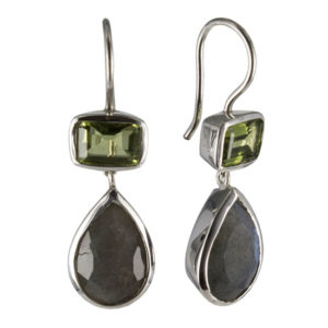 Coby van den Bor - Earrings Silver Peridot Labradorite