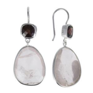 Coby van den Bor - Earrings Silver Rosequarts Garnet