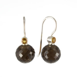 Coby van den Bor - Earrings Silver Smokey Topaz