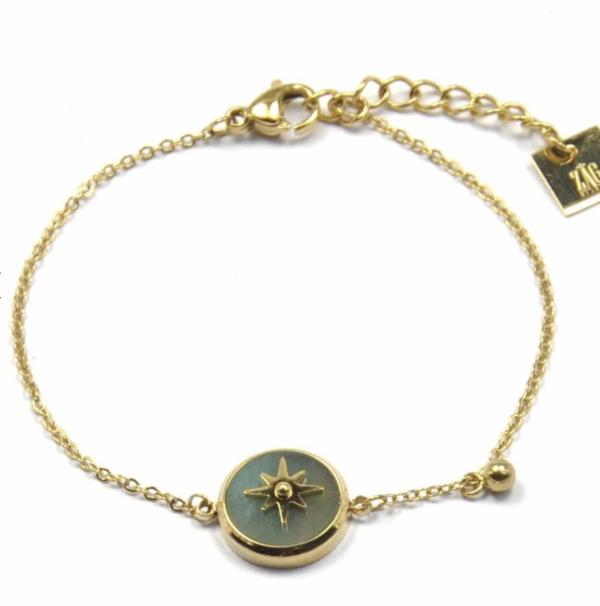 Zag Bijoux - Gold Bracelet Amazonite Star