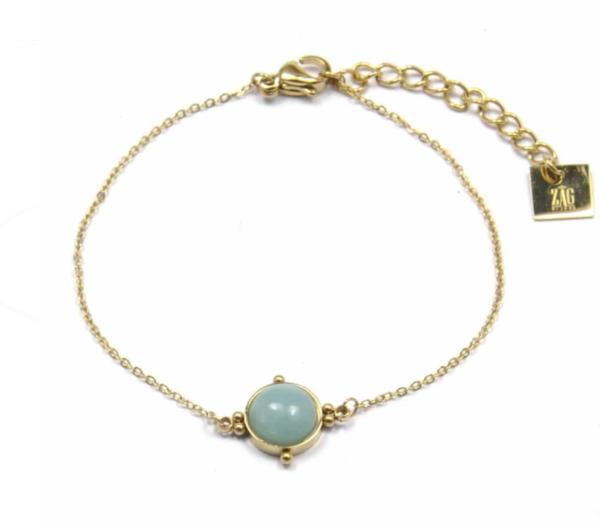 Zag Bijoux - Gold Bracelet Amazonite Stone 2