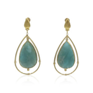 Gas Bijoux - Serti Cage Large Amazonite Earrings