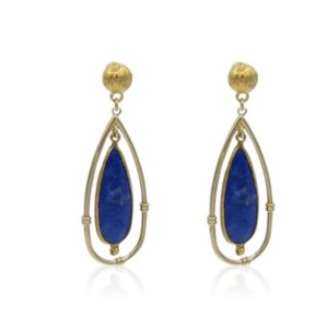 Gas Bijoux - Serti Cage Small Lapis Lazuli Earrings