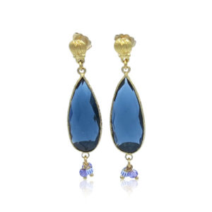 Gas Bijoux - Serti Goutte Blue Earrings