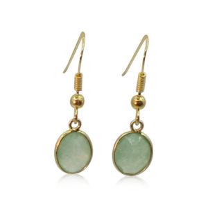 Callysta's Findings - Earrings Green Quartz Round