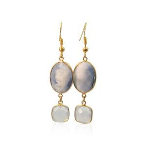 Callysta's Findings - Earrings Grey Blue Agate
