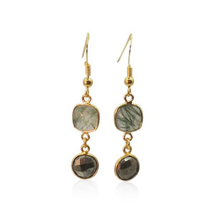 Callysta's Findings - Earrings Pyrite Rutile Quartz