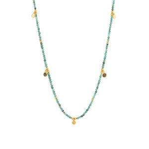Une a Une - Collier Jaipur Fleur Turquoise