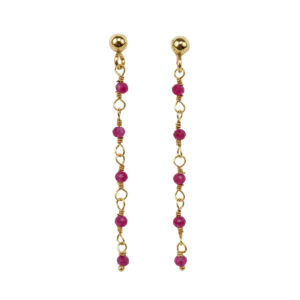 Une a Une - Earrings Inde Framboise
