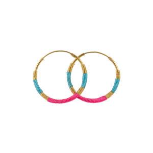 Une a Une - Earrings Turquoise Fluor Pink