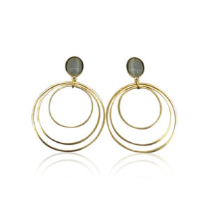 Callysta's Findings - Cateye Earrings Large Grey