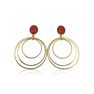 Callysta's Findings - Cateye Earrings Large Orange