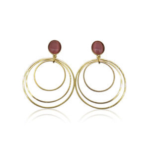 Callysta's Findings - Cateye Earrings Large Pink