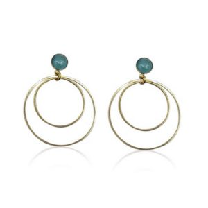Callysta's Findings - Cateye Earrings Medium Double Aqua