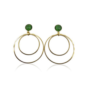 Callysta's Findings - Cateye Earrings Medium Double Dark Green