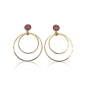 Callysta's Findings - Cateye Earrings Medium Double Pink