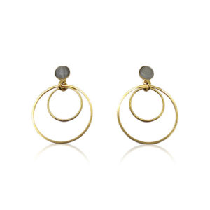 Callysta's Findings - Cateye Earrings Small Grey