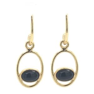 Muja Juma - Earrings Oval Black Agate 1353GB0