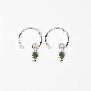Muja Juma - Earrings Round Dot Dark Nefrite 1280SB7
