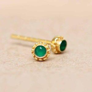 Muja Juma - Ear Studs Green Agate 1458GB15