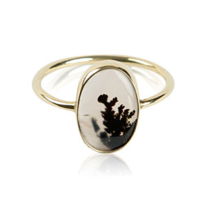 Yilz & Gems - 14kt Golden Ring Dendretic Agate p