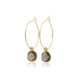 Callysta Findings - Hoops Smokey Topaz