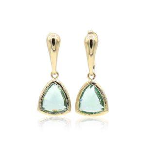 Callysta's Findings - Earrings Triangle Green