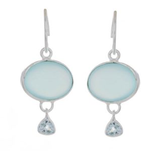 Muja Juma - Earrings Blue Chalcedony Silver 1437sb9