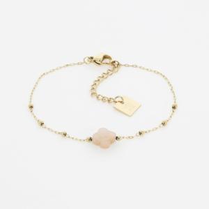Zag Bijoux - Bracelet Clover Peach Moonstone 2