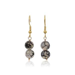 Callysta's Findings - Earrings Agate Black Veins