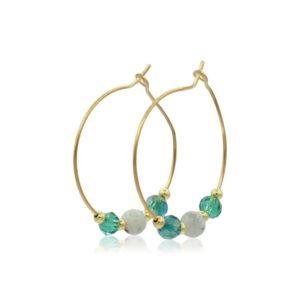 Callysta's Findings - Earrings Hoops Green Stones