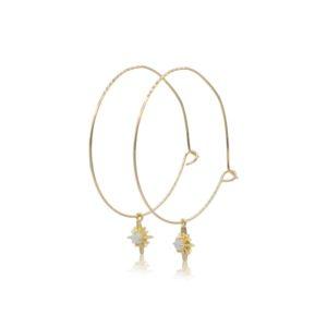Callysta's Findings - Earrings Hoops Large Opal Stars