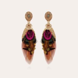 Gas Bijoux - Earrings Feather Pink Green Cognac