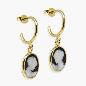 Vintouch - Earrings Black Mini Hoop Cameo