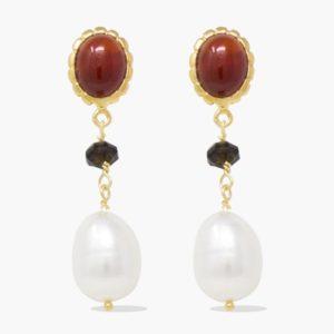 Vintouch - Earrings Carnelian Onyx Pearl Drop