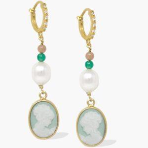 Vintouch - Earrings Little Lovelies Green Cameo Hoop