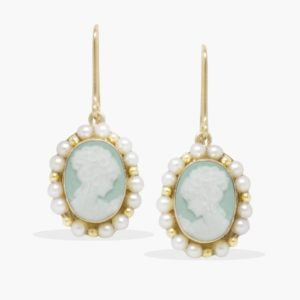 Vintouch - Earrings Little Lovelies Green Cameo Pearly