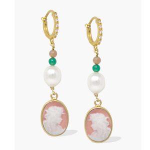 Vintouch - Earrings Little Lovelies Pink Cameo Hoop b