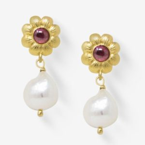 Vintouch - Earrings Mini Flower Rhodolite