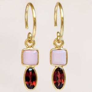 Muja Juma - Earrings 1589GB4 Pink Opal Garnet