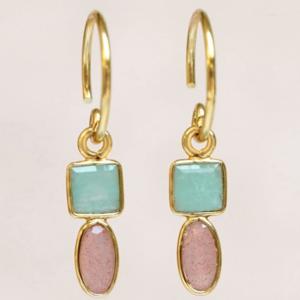 Muja Juma - Earrings 1589GB5 Amazonite Peach Moonstone
